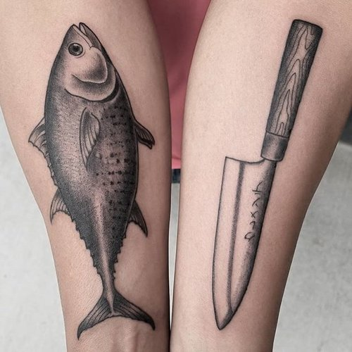 fish and knife tattoo